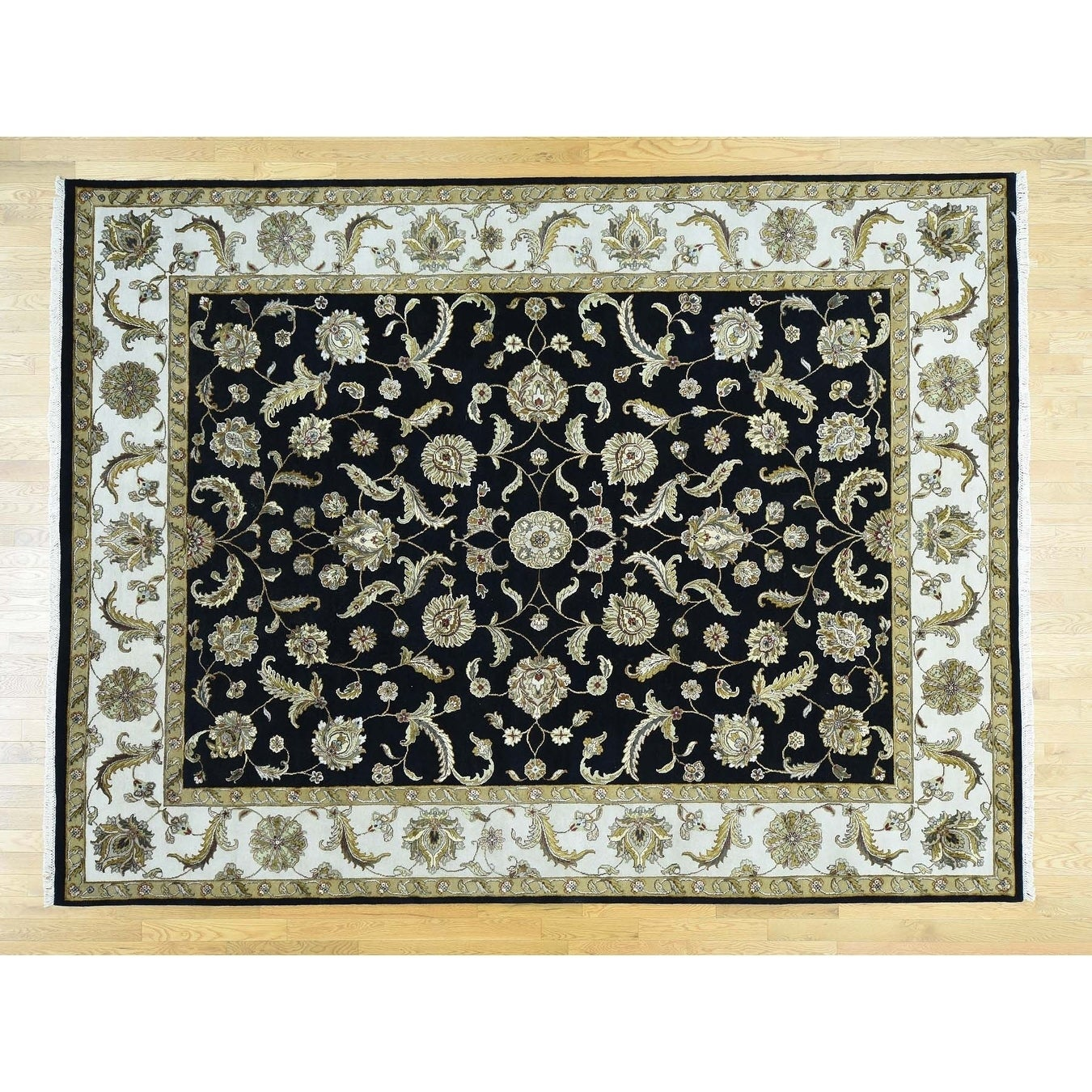 Hand Knotted Black Rajasthan with Wool & Silk Oriental Rug - 91 x 121