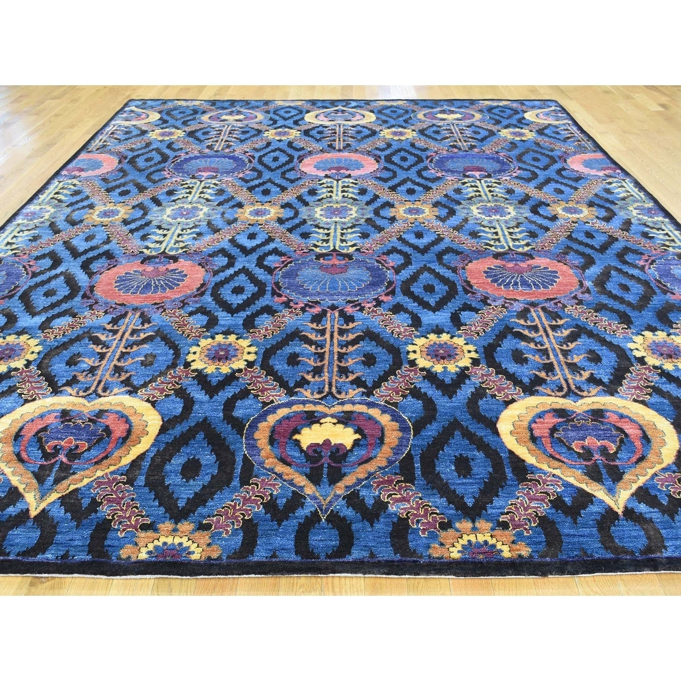 Hand Knotted Blue Arts And Crafts with Wool & Silk Oriental Rug - 9 x 12