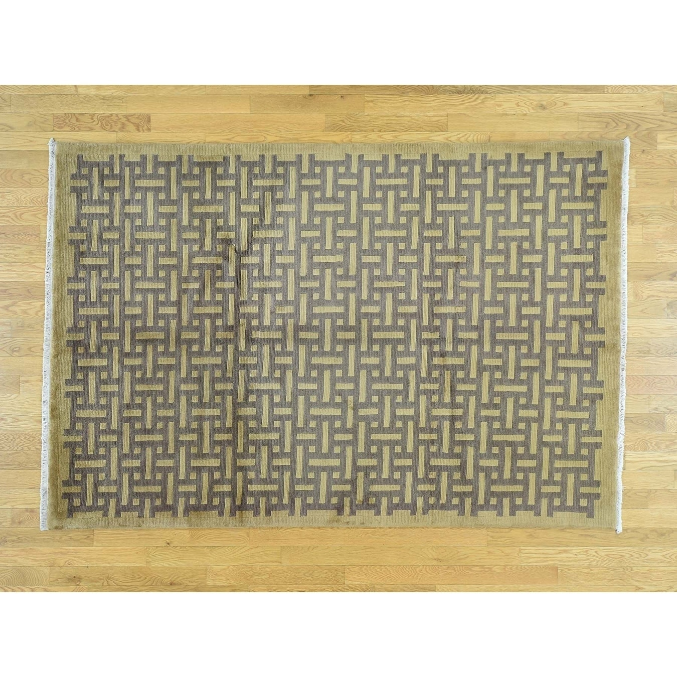 Hand Knotted Beige Modern & Contemporary with Wool Oriental Rug - 57 x 83