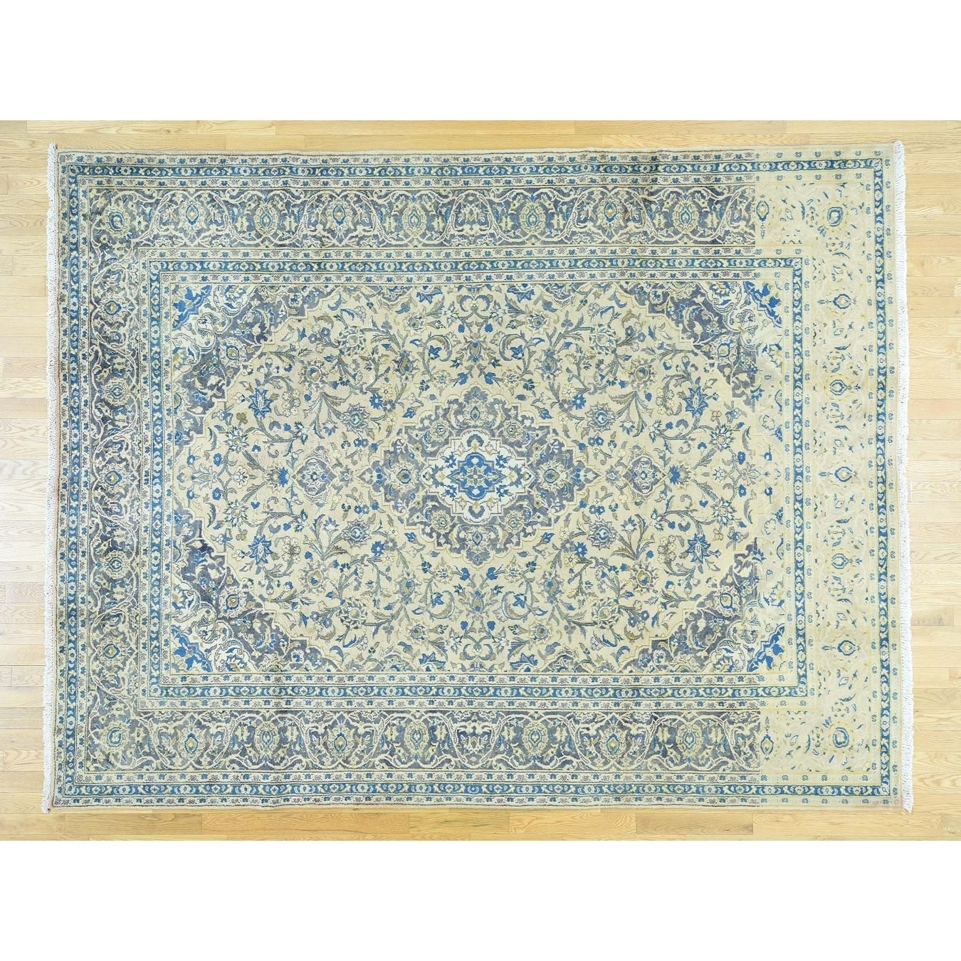 Hand Knotted Beige Persian with Wool Oriental Rug - 89 x 113