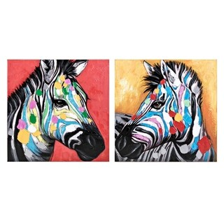 Colorful Multi-color Zebra Wall Arts (Ast 2) - Black/White - 24 x 24