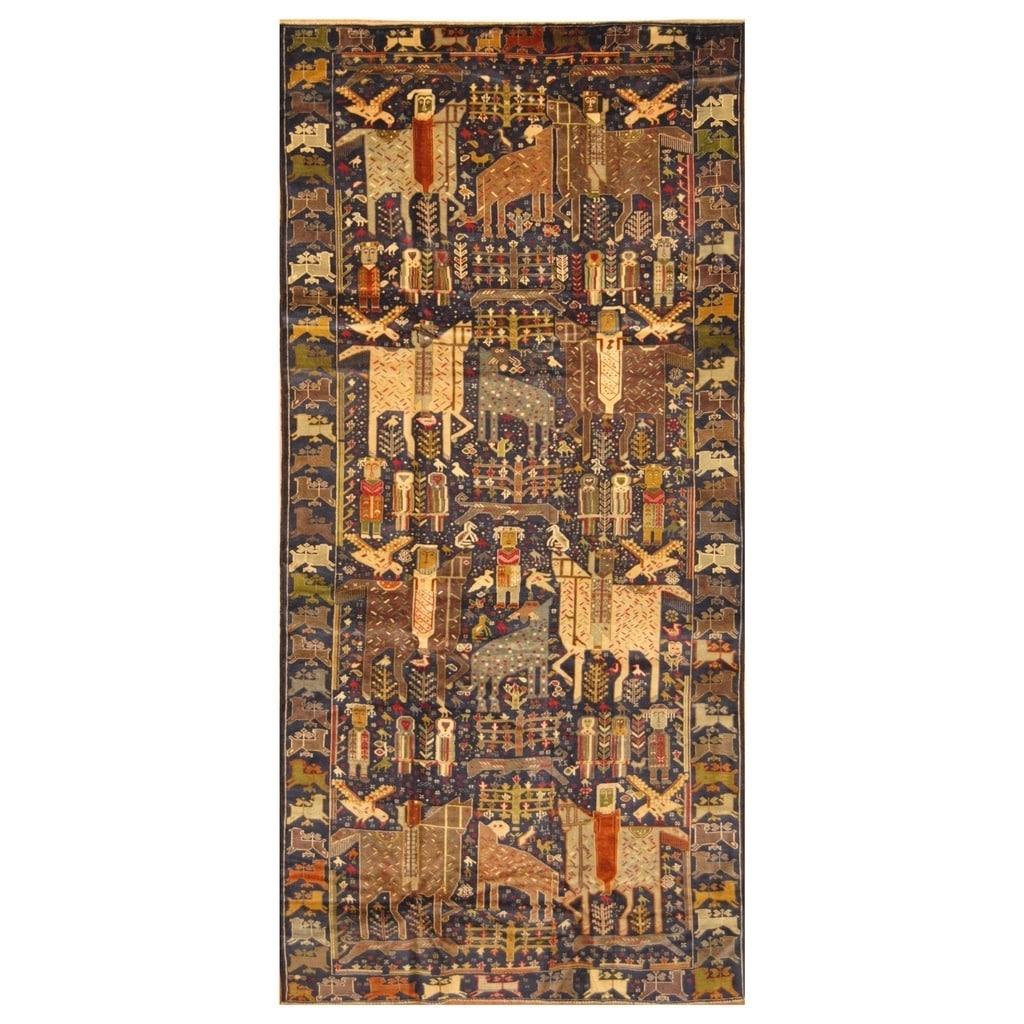 Handmade Herat Oriental Afghan Hand-knotted Tribal Semi-Antique Balouchi Wool Rug (46 x 10) - 48 x 10 (Navy - 48 x 10)