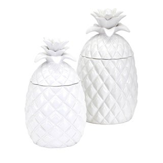 Pineapple White Glaze Canisters (Set of 2)