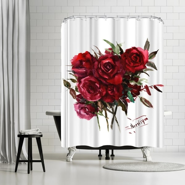 Shop Americanflat Deep Red Burgundy Roses Shower Curtain