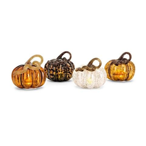 Multi-color Small Glass LED Pumpkins (Ast 4)