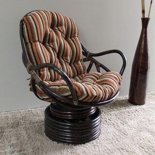 International Caravan Bali Swivel Rocker Chair with Chenille Cushion