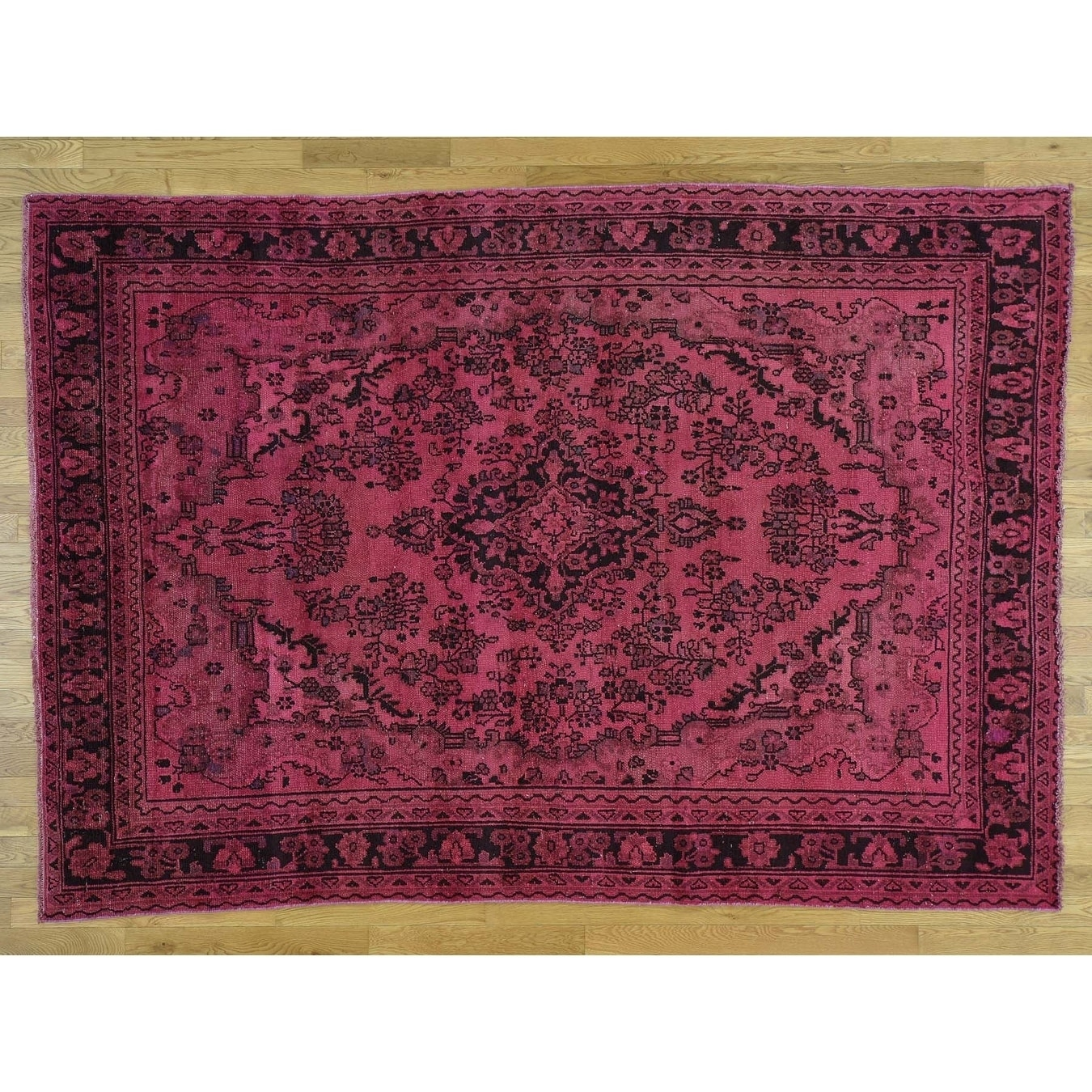 Hand Knotted Pink Overdyed & Vintage with Wool Oriental Rug - 610 x 910
