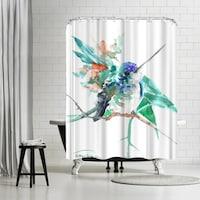 Americanflat Turquoise Blue Hummingbird Shower Curtain