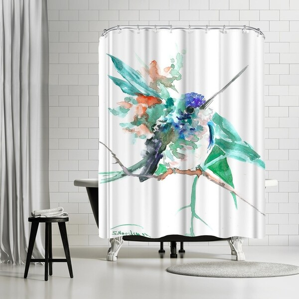 Shop Americanflat Turquoise Blue Hummingbird Shower Curtain
