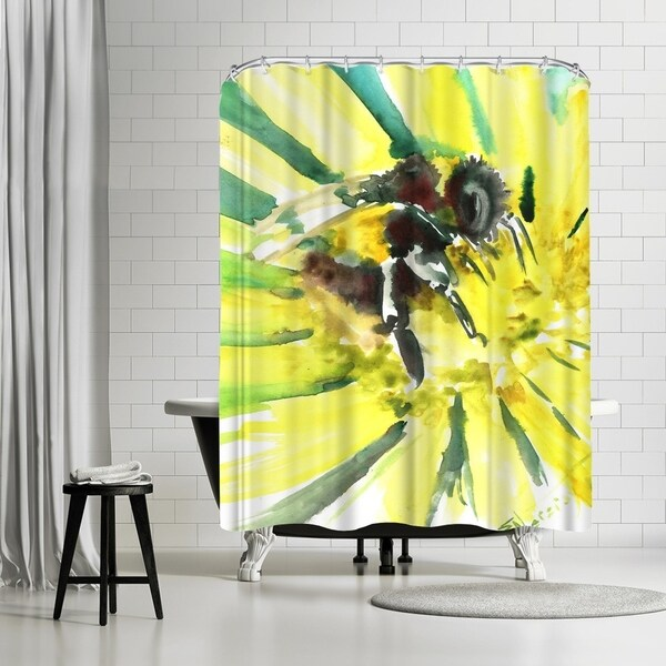 Shop Americanflat Flower Bee 3 Shower Curtain
