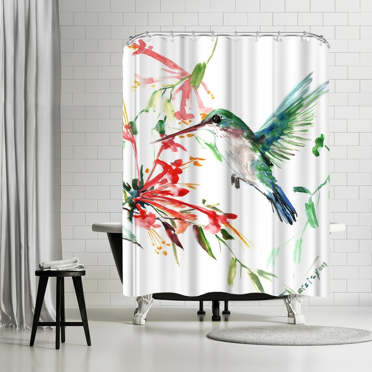 Americanflat Flying Hummingbird Shower Curtain