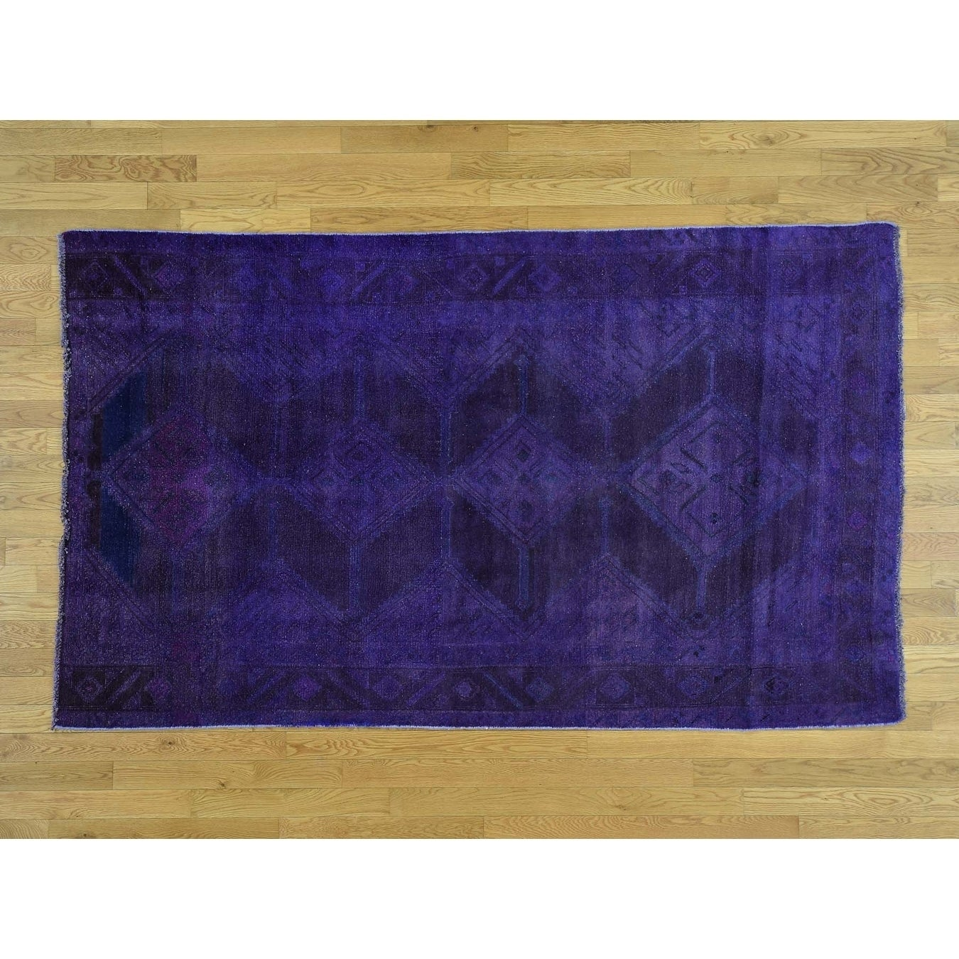 Hand Knotted Purple Overdyed & Vintage with Wool Oriental Rug - 5 x 83