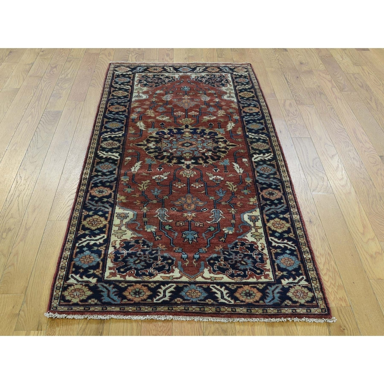 Hand Knotted Red Heriz with Wool Oriental Rug - 27 x 6