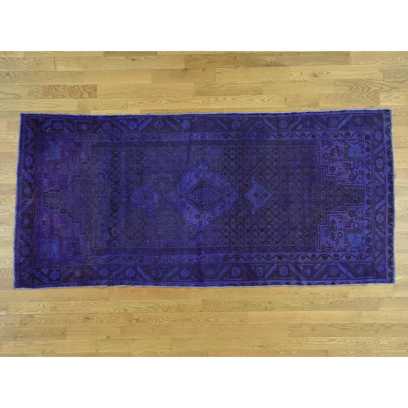 Hand Knotted Purple Overdyed & Vintage with Wool Oriental Rug - 47 x 97