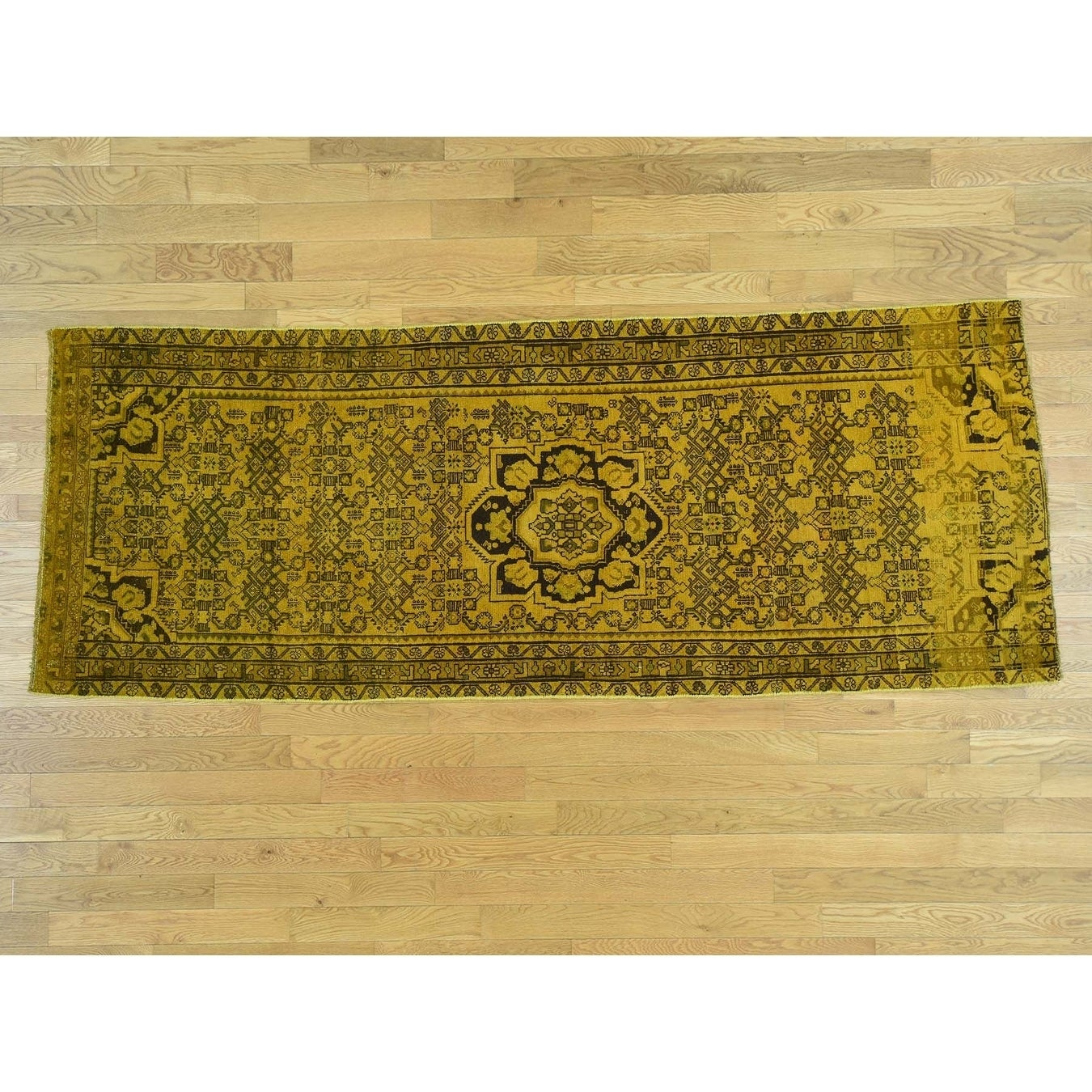 Hand Knotted Yellow Overdyed & Vintage with Wool Oriental Rug - 310 x 10