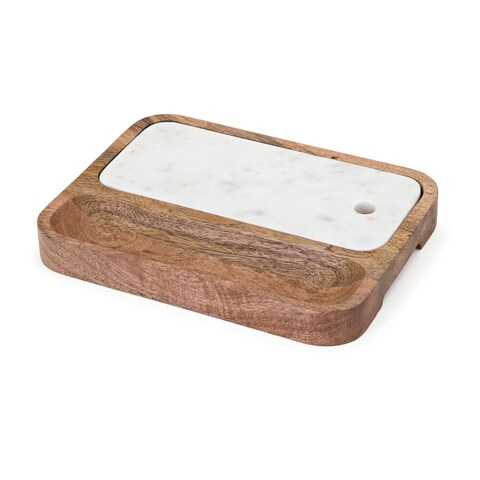 Kevia Brown Wood and Marble Cheese Tray