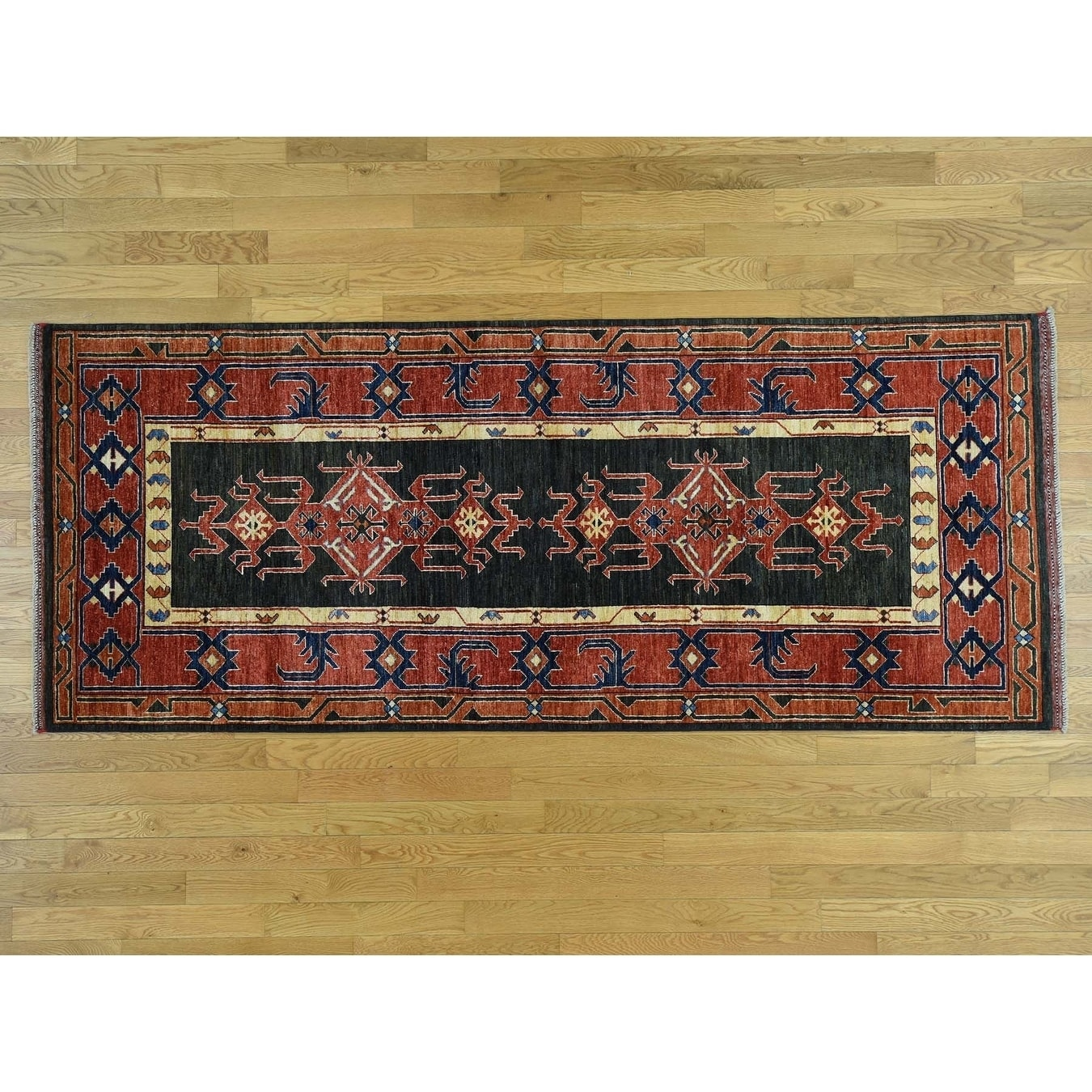 Hand Knotted Green Tribal & Geometric with Wool Oriental Rug - 4 x 10
