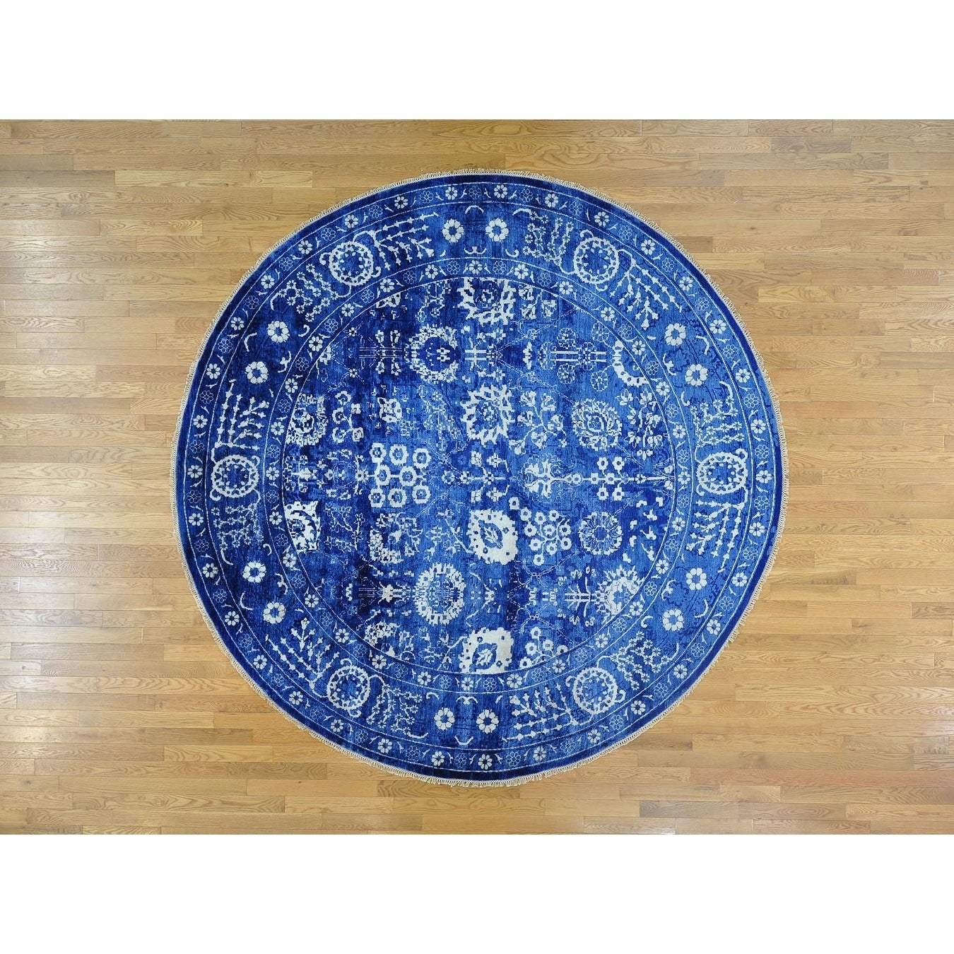 Hand Knotted Blue Modern & Contemporary with Wool & Silk Oriental Rug - 121 x 125