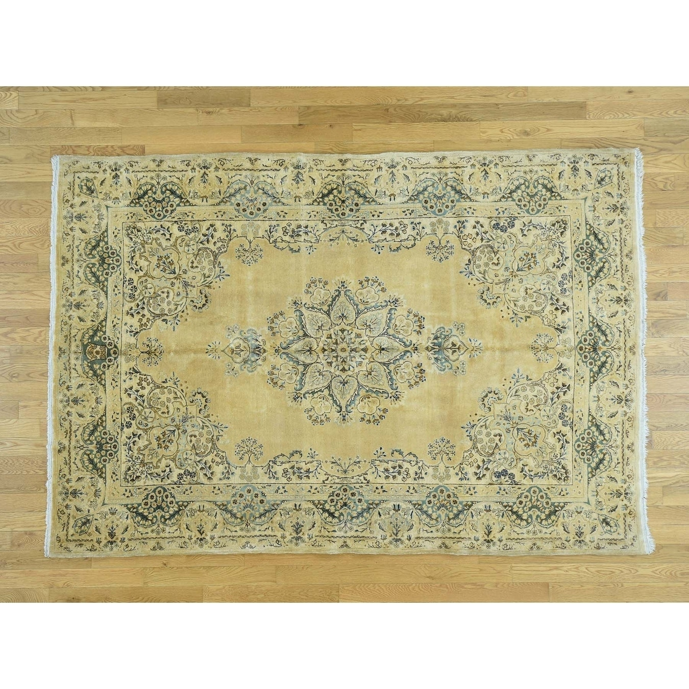 Hand Knotted Yellow Antique with Wool Oriental Rug - 6 x 88