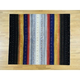 Hand Knotted Multicolored Modern & Contemporary with Wool Oriental Rug - 8'1 x 9'9