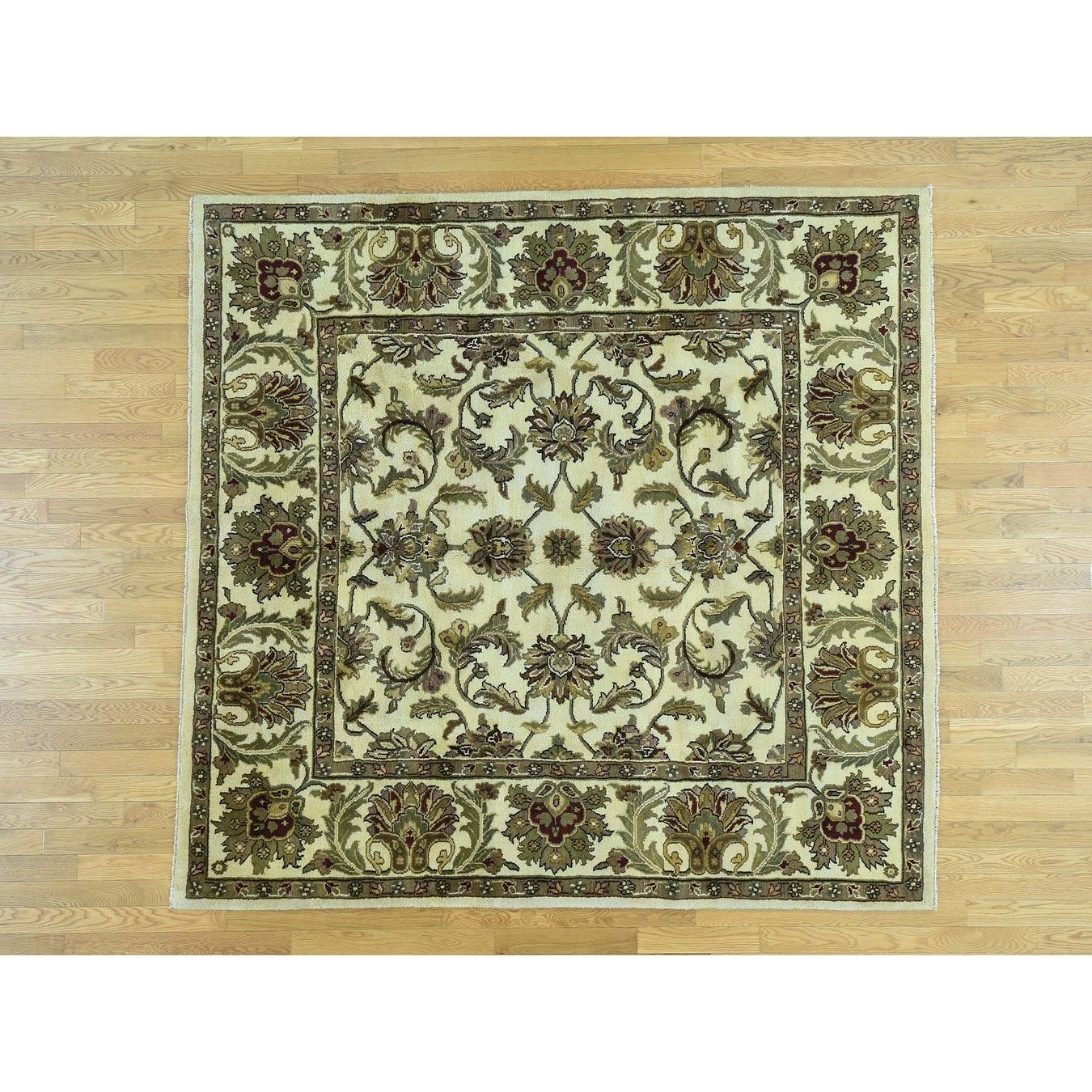 Hand Knotted Ivory Rajasthan with Wool Oriental Rug - 79 x 81