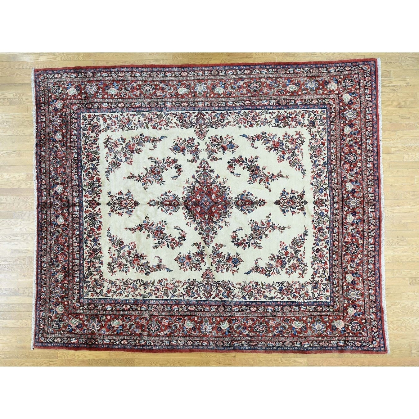 Hand Knotted Ivory Clearance with Wool Oriental Rug - 104 x 124