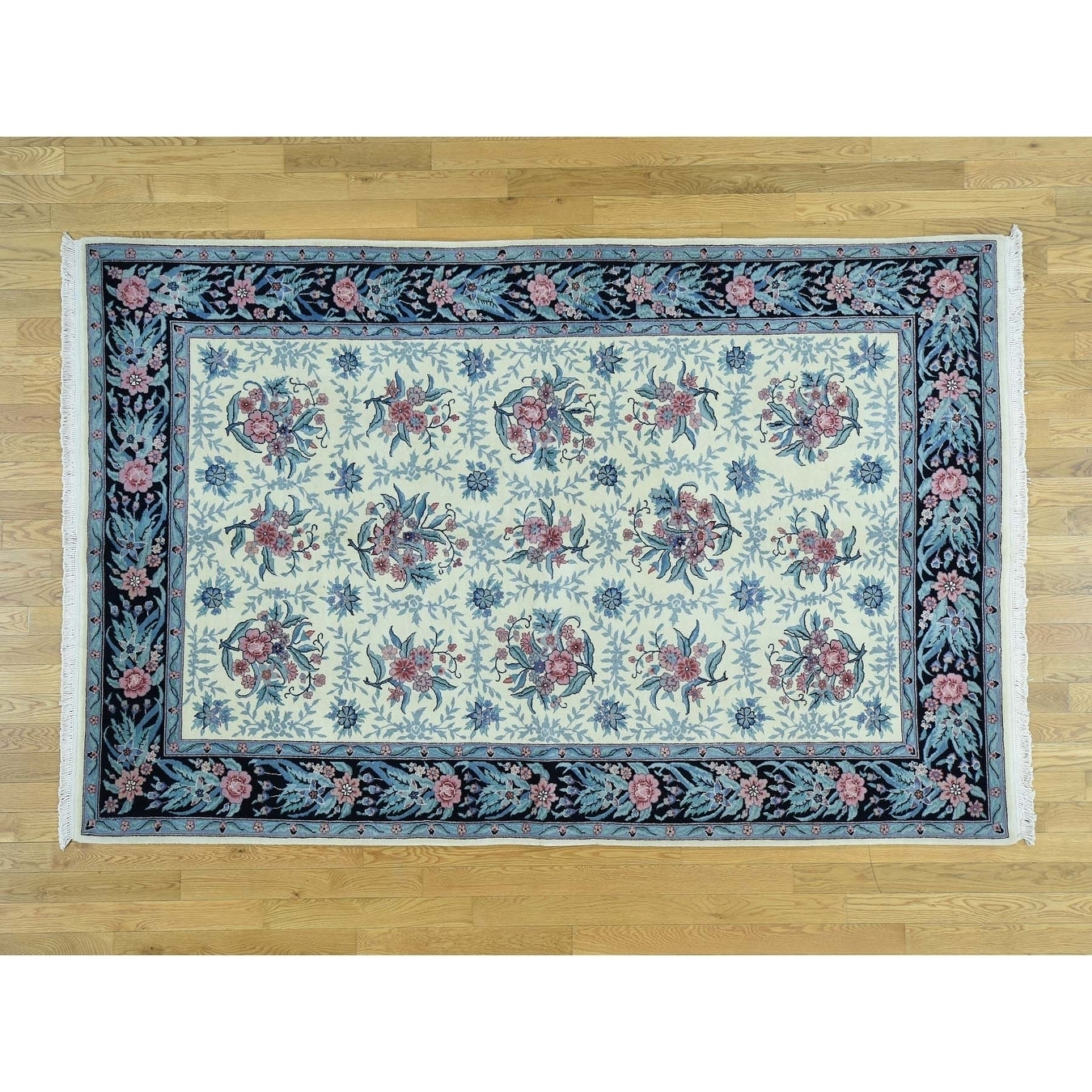 Hand Knotted Ivory Clearance with Wool Oriental Rug - 58 x 89