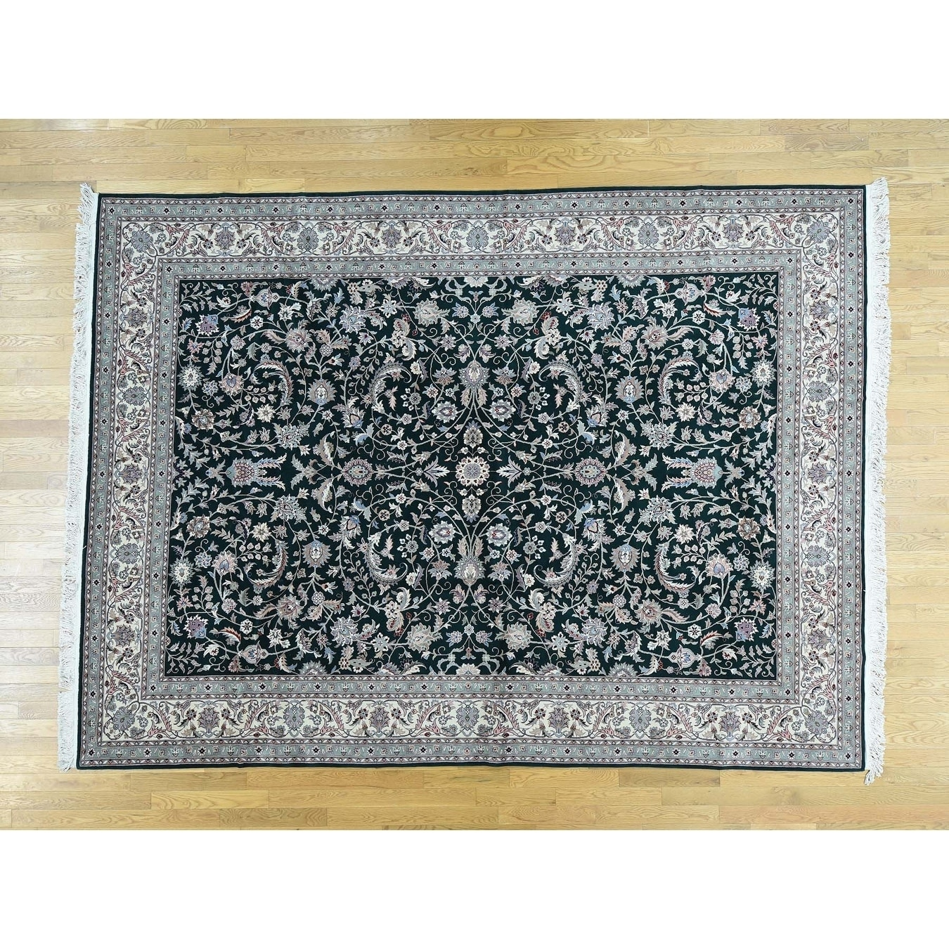Hand Knotted Green Clearance with Wool Oriental Rug - 9 x 121