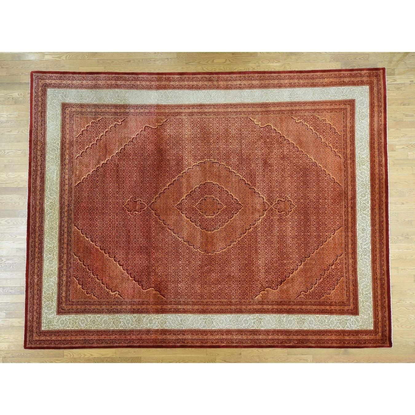 Hand Knotted Orange Fine Oriental with Wool Oriental Rug - 910 x 13
