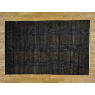 Hand Knotted Brown Modern & Contemporary with Wool & Silk Oriental Rug - 5'7 x 7'9
