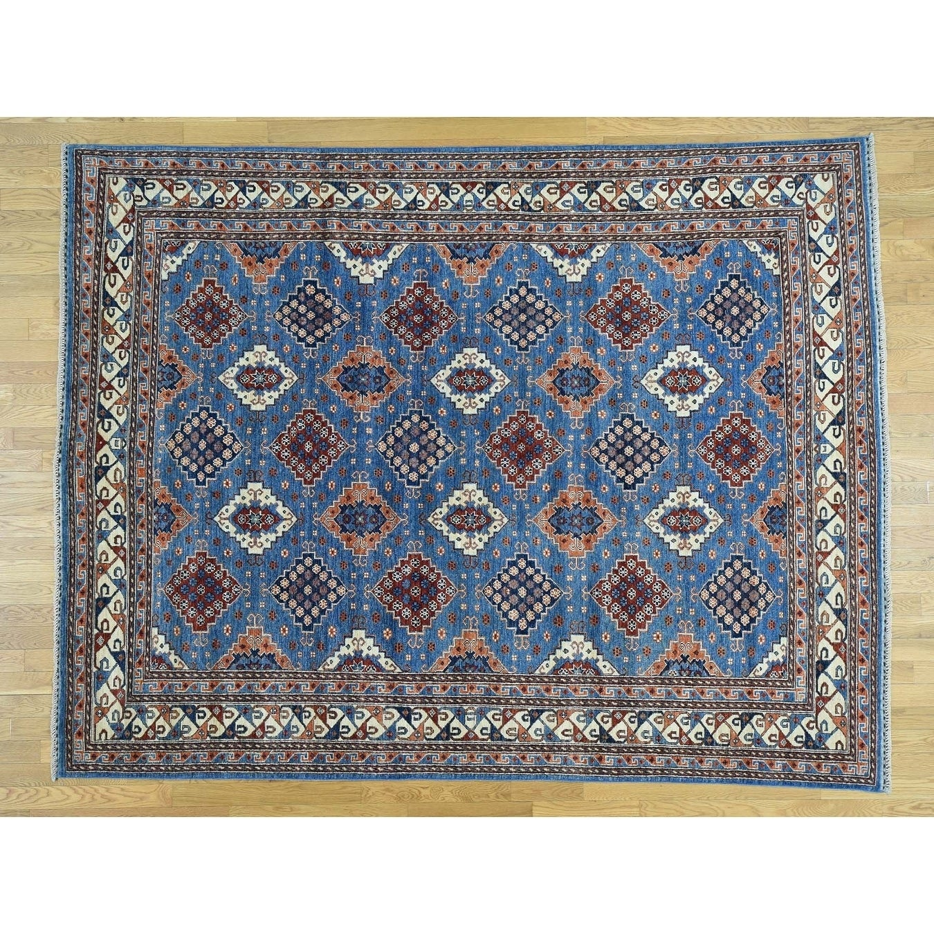 Hand Knotted Blue Tribal & Geometric with Wool Oriental Rug - 8 x 10