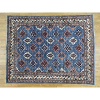 Hand Knotted Blue Tribal & Geometric with Wool Oriental Rug - 8' x 10'