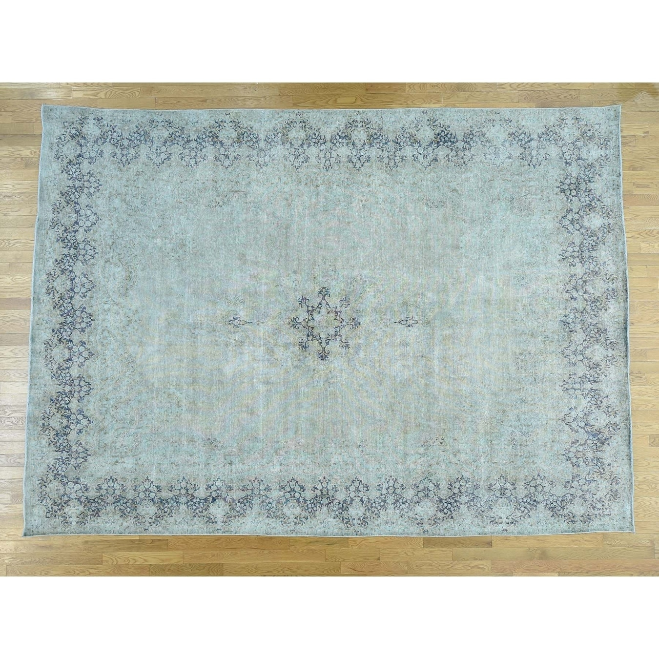 Hand Knotted Green White Wash Vintage & Silver Wash with Wool Oriental Rug - 97 x 133
