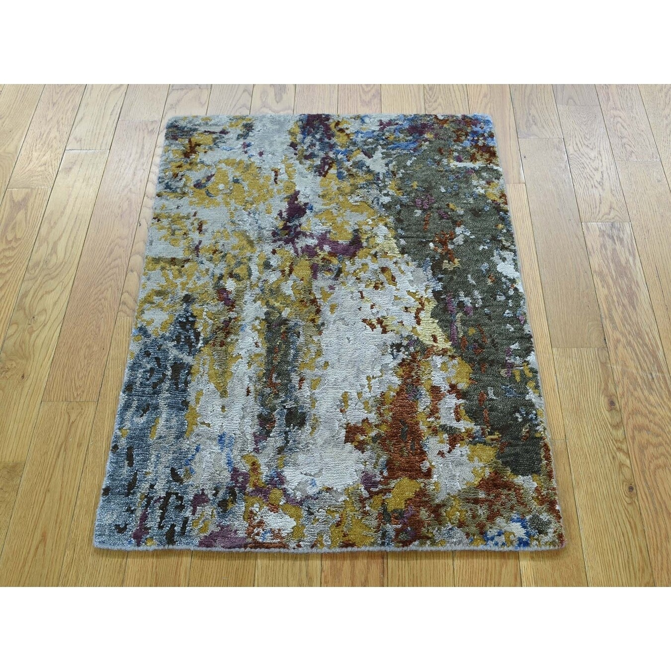 Hand Knotted Multicolored Modern & Contemporary with Wool & Silk Oriental Rug - 2 x 3
