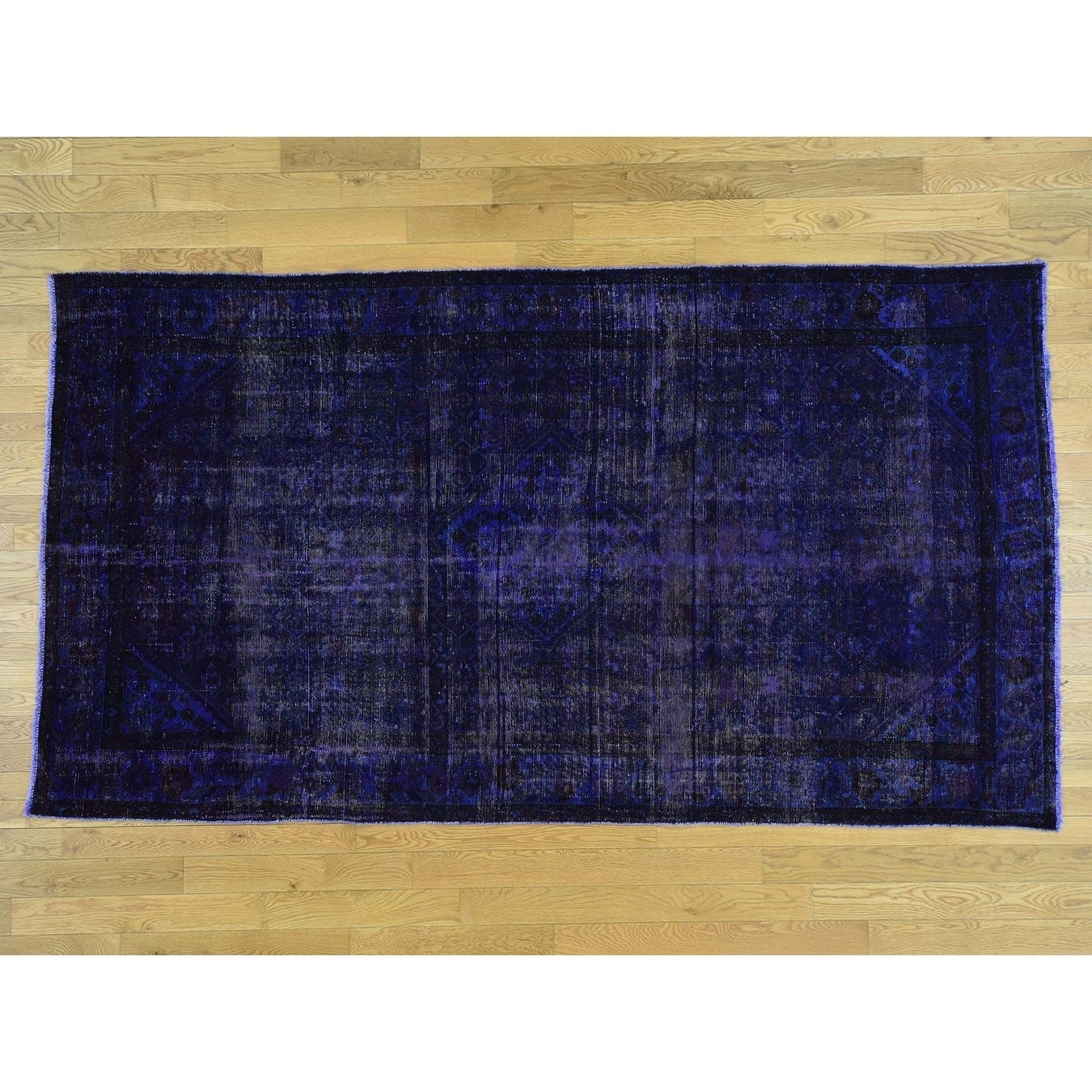 Hand Knotted Purple Overdyed & Vintage with Wool Oriental Rug - 58 x 10