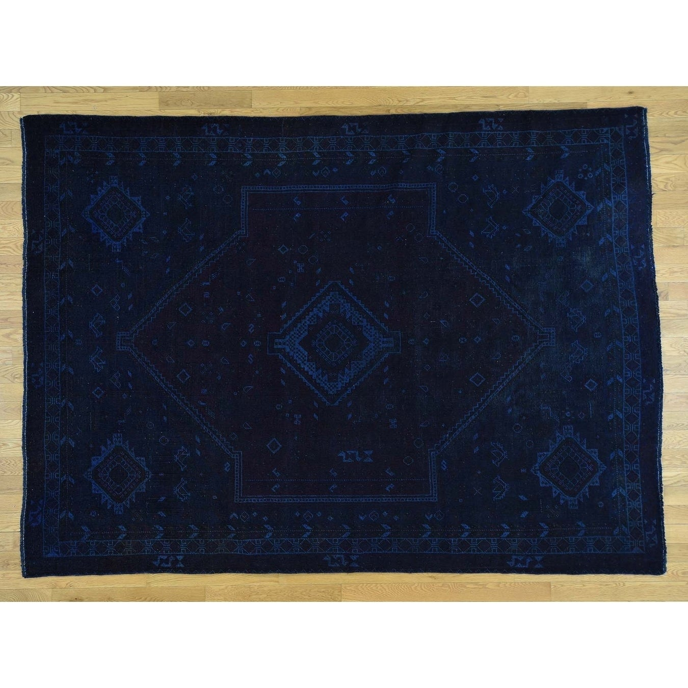 Hand Knotted Blue Overdyed & Vintage with Wool Oriental Rug - 7 x 94
