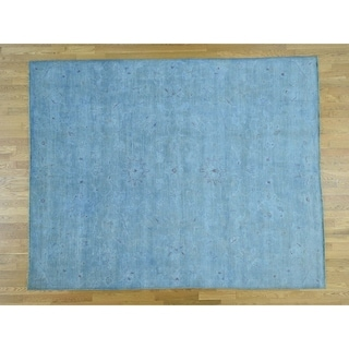Hand Knotted Blue Overdyed & Vintage with Wool Oriental Rug - 8'2 x 10'2
