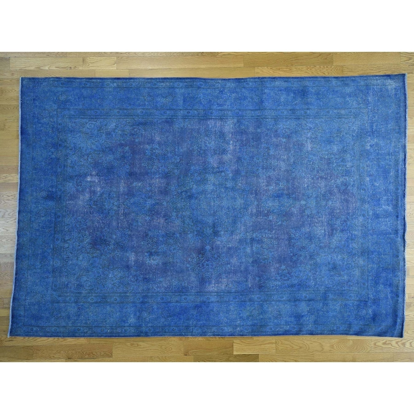 Hand Knotted Blue Overdyed & Vintage with Wool Oriental Rug - 82 x 12