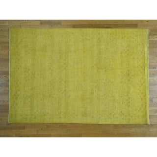 Hand Knotted Yellow Overdyed & Vintage with Wool Oriental Rug - 6'2 x 9'