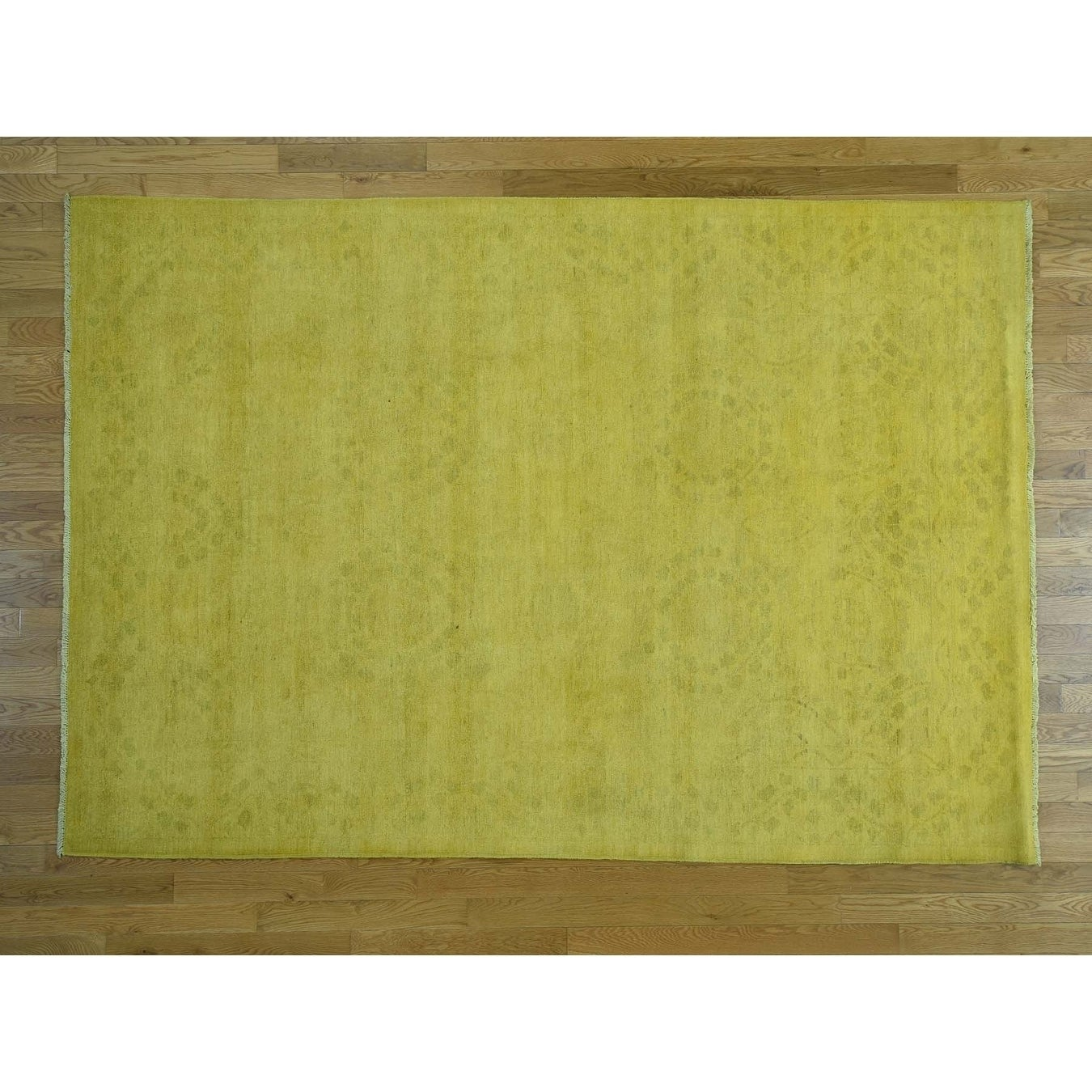 Hand Knotted Yellow Overdyed & Vintage with Wool Oriental Rug - 62 x 9