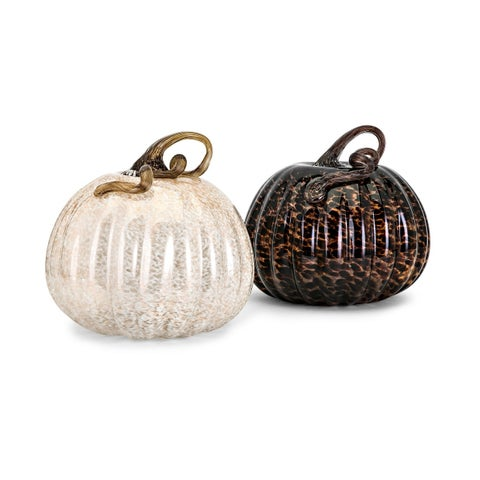 Brown and Ivory Large Glass Pumpkins (Ast 2)