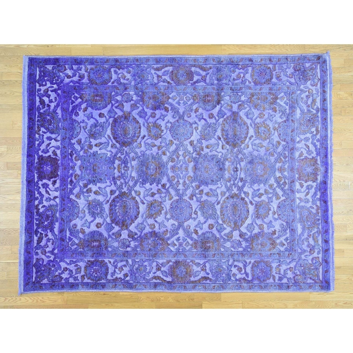 Hand Knotted Purple Overdyed & Vintage with Wool & Silk Oriental Rug - 8 x 10