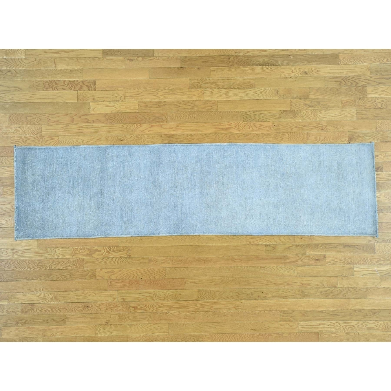Hand Knotted Grey Overdyed & Vintage with Wool Oriental Rug - 26 x 97