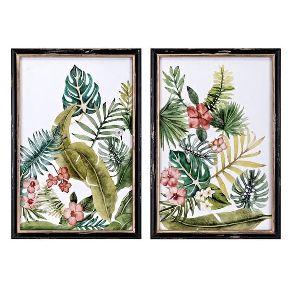 Macaw Multi-Color Framed Artworks (Set of 2) - Black/Green