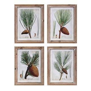 Evergreen Botanical Brown Wall Decors (Set of 4) - Green/Multi-color