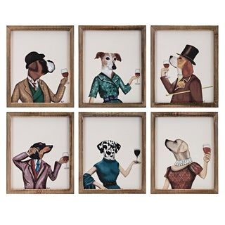 Dog Cheers Brown Wall Decors (Set of 6) - Blue/Multi-color