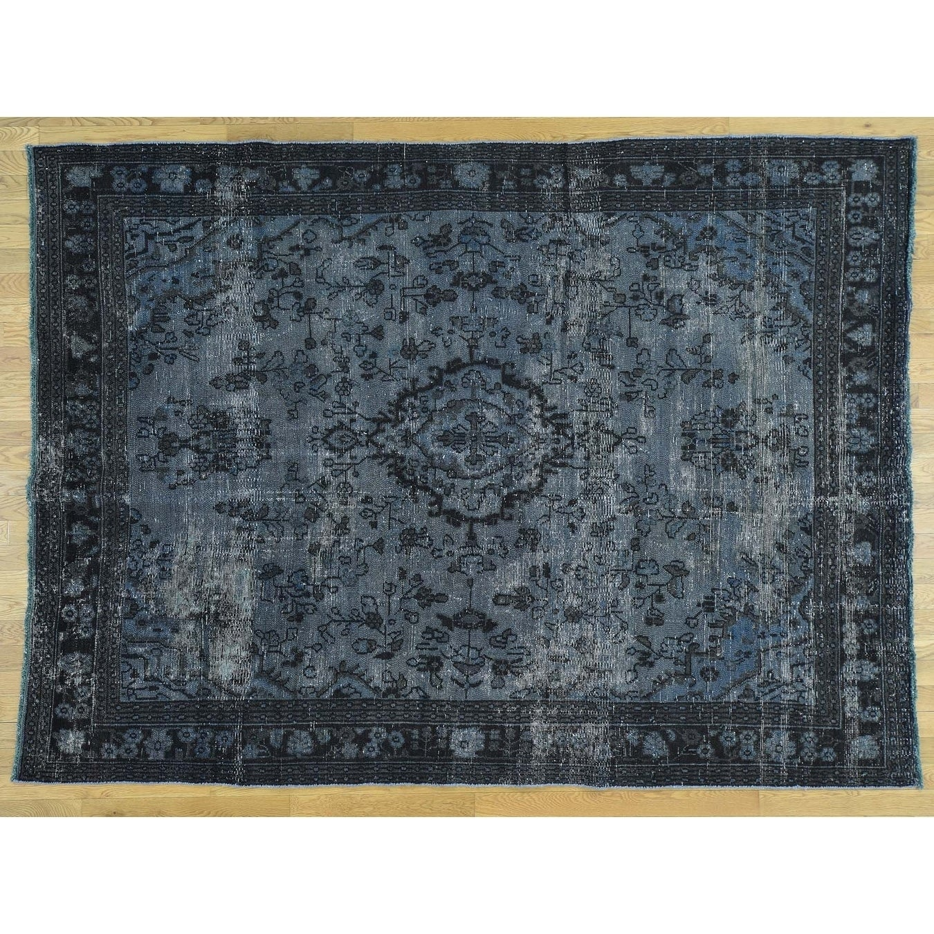 Hand Knotted Blue Overdyed & Vintage with Wool Oriental Rug - 71 x 99