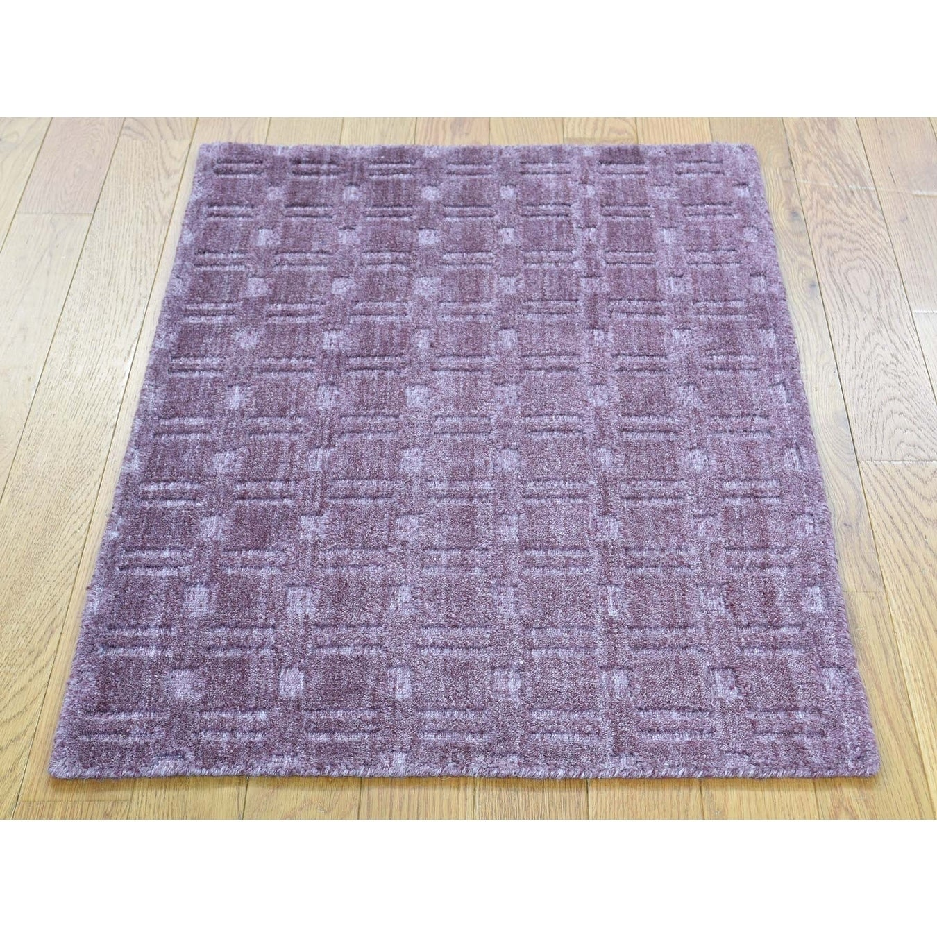 Hand Knotted Purple Hand-Loomed with Art Silk Oriental Rug - 2 x 3