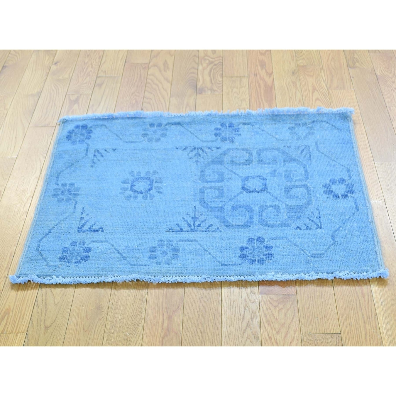 Hand Knotted Blue Overdyed & Vintage with Wool Oriental Rug - 2 x 210