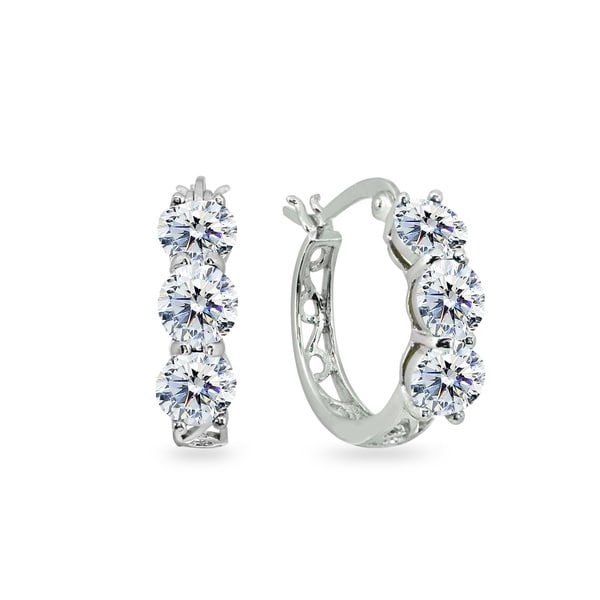 3df0d6109 ICZ Stonez Round Filigree Three Stone Hoop Earrings Made with Swarovski  Zirconia - Silver